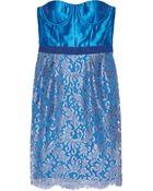Matthew Williamson Silk-blend and Lace Bustier Dress - Lyst