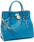 MICHAEL Michael Kors Large Hamilton Ostrich-embossed Tote, Turquoise - Lyst