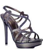 Pelle Moda Flirt - Metallic Leather Rhinestone Platform Sandal - Lyst