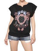 Balmain Printed Cotton Fleece T-shirt - Lyst