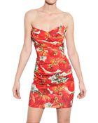 Dolce & Gabbana Strapless Tomato Silk Charmeuse Dress - Lyst