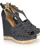 Chloé Denim Wedge Sandals - Lyst