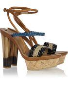 Etro Braided Raffia and Leather Platform Sandals - Lyst