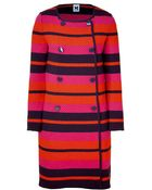 M Missoni  Striped Double-breasted Knit Coat - Lyst