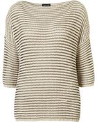 Topshop Knitted Grill Stripe Sweat - Lyst
