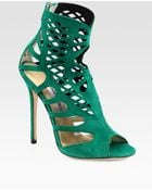 Jimmy Choo Stretch Suede Cage Sandals - Lyst
