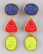 Oscar de la Renta Carved Cabochon Earrings - Lyst