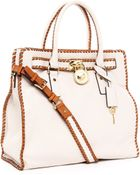 Michael Kors Hamilton Large Whipped North South Tote, Vanilla - Lyst