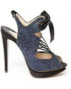 Nicholas Kirkwood Lace-Up Glitter Sandal - Lyst