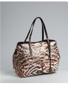 Jimmy Choo Natural Exotic Print Coated Canvas Scarlet Large Tote - Lyst