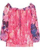 Roberto Cavalli Printed Silk-chiffon Top - Lyst