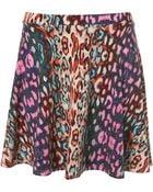 Topshop Bleach Leopard Skater Skirt - Lyst