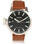 Nixon Steel and Leather Chronicle Watch - Lyst