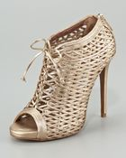 Tabitha Simmons Lace-up Metallic Lattice Bootie - Lyst
