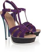 Saint Laurent Tribute Color-block Suede Sandals - Lyst