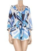 Emilio Pucci Nastri Printed Cotton and Silk-blend Tunic - Lyst