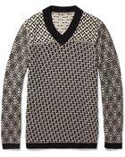 Bottega Veneta Patterned Knitted Cotton V-neck Sweater - Lyst