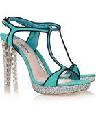 Miu Miu Suede, Glitter and Crystal Sandals - Lyst