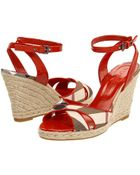 Burberry Nova Check Patent Leather Wedge Espadrille - Lyst