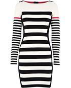 Karen Millen Block Stripe Knit Dress - Lyst