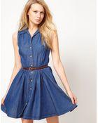 Oasis Oasis Belted Denim Shirt Dress - Lyst