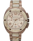 Michael Kors Chronograph Espresso Tone Stainless Steel and Horn Acetate Bracelet 43mm - Lyst