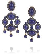 Oscar de la Renta 24karat Goldplated Cabochon Clip Earrings - Lyst