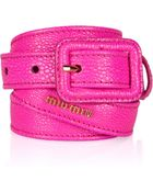 Miu Miu Stringrayeffect Leather Skinny Belt - Lyst