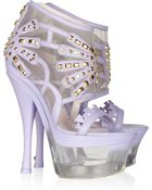 Versace Studded Leather and Lucite Platform Sandals - Lyst
