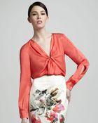 Rachel Roy Silk Tie-neck Blouse - Lyst