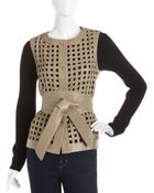 ESCADA Leather Lattice work Vest - Lyst