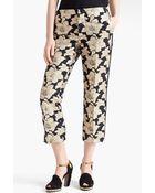 Marni Straight Leg Brocade Crop Pants - Lyst