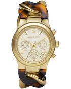 Michael Kors Chainlink Watch Tortoise - Lyst