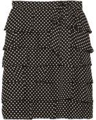 RED Valentino Ruffled Polkadot Silk Skirt - Lyst