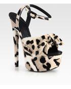 Giuseppe Zanotti Leopard Print Calf Hair Platform Sandals - Lyst