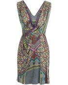 Matthew Williamson Decadent Tile Chiffon Folded Drape Dress - Lyst