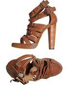 Diesel Black Gold Platform Sandals - Lyst