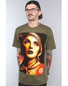 Obey The Rise Above Rebel Basic Tee in Olive - Lyst