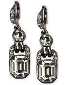 Givenchy Light Hematite Tone Black Diamond Crystal Drop Earrings - Lyst