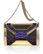 Missoni Violet Multicolor Lurex and Leather Clutch - Lyst