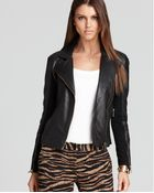 Michael Kors Michael Leather Jacket with Knit Sides - Lyst