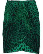 Dolce & Gabbana Leopard Print Stretch Silk Skirt - Lyst