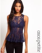 Asos Petite Exclusive Swing Peplum Top in Lace - Lyst
