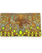 Matthew Williamson Crystal Embellished Brocade Suede Clutch - Lyst