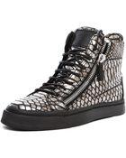 Giuseppe Zanotti Embossed Sneaker in Metallic - Lyst