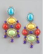 Oscar de la Renta Cabochon Drop Clip Earrings Multicolor - Lyst
