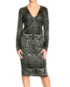 Roberto Cavalli Long Sleeve V Neck Jersey Cross Ocelot Print Dress - Lyst