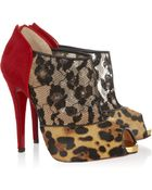 Christian Louboutin Aerotonoc 120 Calf Hair And Lace Ankle Boots - Lyst