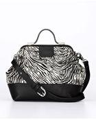 Ann Taylor Zebra Print Haircalf and Leather Satchel Bag - Lyst