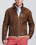 Polo Ralph Lauren Leather Newsboy Jacket - Lyst